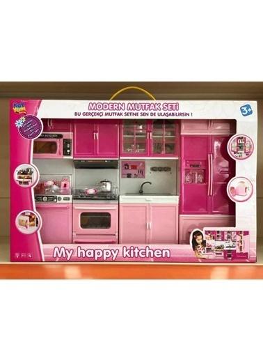 Toysan Işıklı Sesli 4Lü Buzdolaplı Kapılı Modern Oyuncak Mutfak Seti Renkli